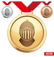 Gold Medal with the symbol of a knight inside vector image vector image