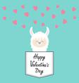 happy valentines day alpaca llama face sitting in vector image vector image