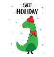 holiday card with cute dinosaur vector image