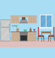 interior kitchen room design with kitchenware and vector image vector image