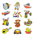 kid toys children icons set cartoon style vector image