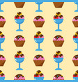 little delicious cupcakes sweet dessert seamless vector image vector image