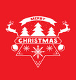 merry christmas greeting card with snow flakes vector image