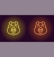 neon piglet face in yellow and orange color vector image vector image