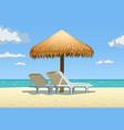 ocean beach with umbrella vector image vector image