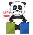panda with shopping bags on white background vector image vector image