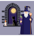 pixel mage with bowl and staff and night window vector image