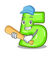 playing baseball character number five at wooden vector image vector image