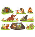 primitive people in stone age caveman life vector image vector image