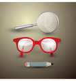 Retro Objects Glasses Pencil Magnifying Glass vector image vector image