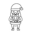 santa claus with gift decoration merry christmas vector image