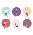 scared people horrified attack characters in vector image vector image