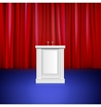 Scene with red curtain tribune Place for vector image