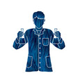 scientist with flask chemical vector image vector image