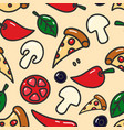 seamless pattern with pizza design elements vector image