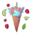 set ice cream unicorn kiwi raspberry vector image vector image
