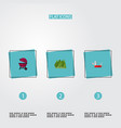 set of camping icons flat style symbols with bbq vector image