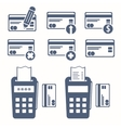 set of credit cards icons Pos terminal Flat icon vector image