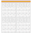 Set of Spanish 2015 2016 2017 2018 calendars vector image vector image