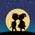Silhouette of a boy and a girl kissing in the vector image vector image