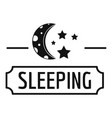 sleeping moon logo simple black style vector image vector image