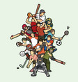 sports mix sport players action vector image