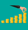 stacks gold coins and hand vector image vector image