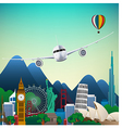 The travel of Famous monuments of the world vector image vector image