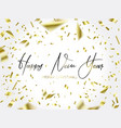 the writing christmas and falling gold confetti vector image vector image