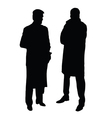 two man in suits black silhouette on white vector image vector image