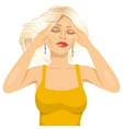 woman touching her temples suffering a headache vector image vector image