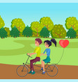 young in love couple riding at double bike at vector image
