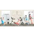 Flat gym interior vector image