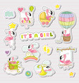 baby girl stickers for baby shower party vector image vector image