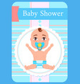 bashower greeting card kid with pacifier sits vector image vector image