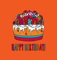 Birthday Cake Hand Drawn Doodle Orange vector image vector image