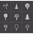 black trees icons set vector image