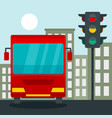 bus at stop light concept background flat style vector image vector image