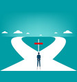 businessman in front of two roads vector image vector image