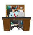 Businessman Working at Office Table Flat Design vector image vector image