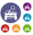 car with padlock icons set vector image vector image