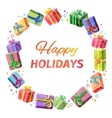 Card happy holidays square frame of gifts vector image