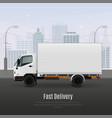 cargo vehicle realistic composition vector image vector image