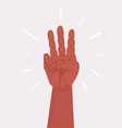 cartoon hand showing three fingers vector image vector image