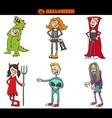 children in halloween costumes set cartoon vector image