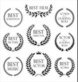 collection black label with laurel wreath film vector image