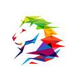 colorful lion head logo vector image vector image