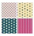 Colorful vintage dotted seamless patterns vector image