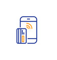 contactless payment card line icon phone money vector image