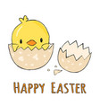 cute little yellow chick in cracked eggs and egg vector image vector image